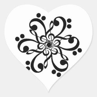 Musical Clef Barnstar Heart Sticker