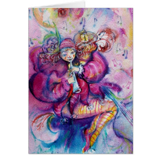 MUSICAL CLOWN AND PINK SPARKLES Valentine's Day Card