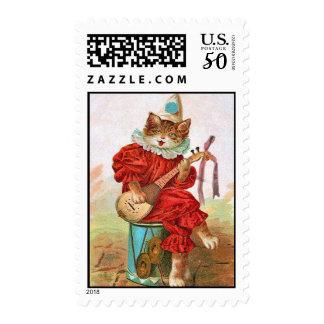 Musical Clown Cat Stamp