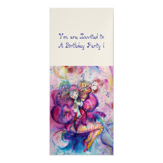 MUSICAL CLOWN ,pink blue ,gold metallic Personalized Invites