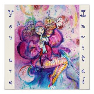 "MUSICAL CLOWN ,pink blue ,gold metallic 5.25"" Square Invitation Card"
