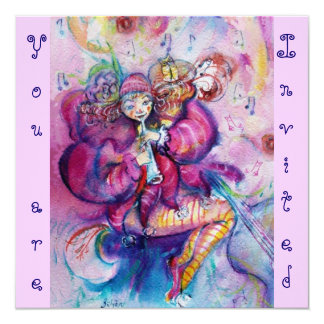 "MUSICAL CLOWN ,pink blue 5.25"" Square Invitation Card"