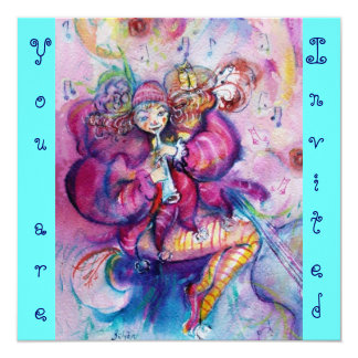 MUSICAL CLOWN ,pink blue turquase Card