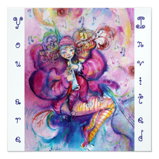 MUSICAL CLOWN ,pink blue ,white ice metallic Card