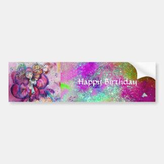 MUSICAL CLOWN ,PINK PURPLE SPARKLES Happy Birthday Car Bumper Sticker