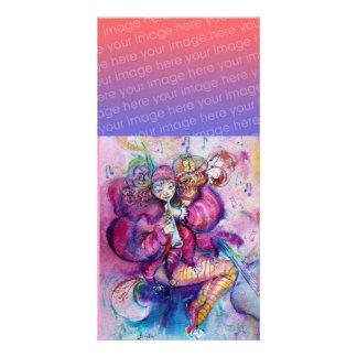 MUSICAL CLOWN pink white blue Photo Card