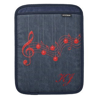 Musical Denim and Red Lace iPad Sleeve