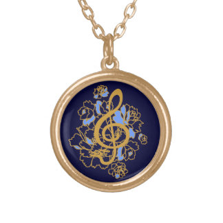Musical Dragon treble clef peonies Custom Gold Plated Necklace