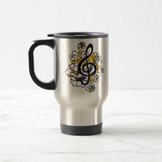 Musical Dragon treble clef peonies Custom Mug