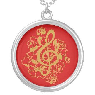 Musical Dragon treble clef peonies Custom Necklace