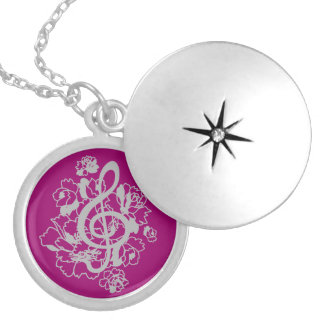 Musical Dragon treble clef peonies Custom Round Locket Necklace