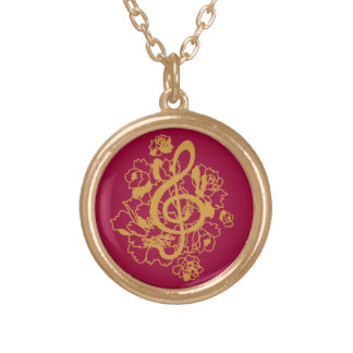 Musical Dragon treble clef peonies Custom Round Pendant Necklace