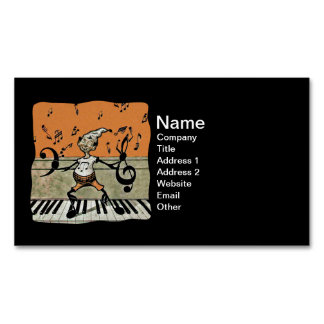 Musical Elf Goblin Piano Music Notes Business Card Magnet
