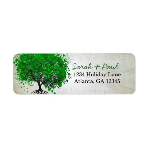 Musical Emerald Heart Leaf Tree Return Address Return Address Label