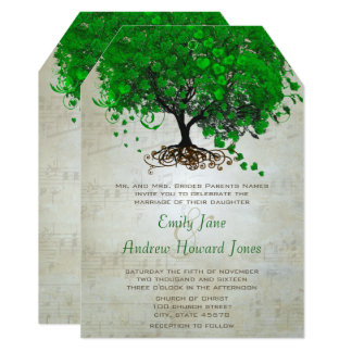 Musical Emerald Heart Leaf Tree Wedding Invites