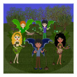 Musical Faerie Band in Enchanting Field Print