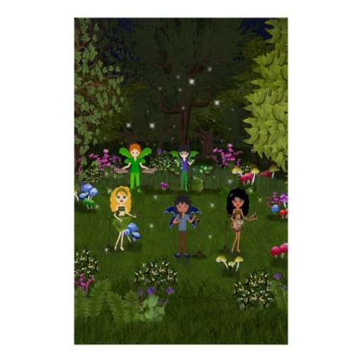 Musical Faerie Band in Enchanting Forest Poster