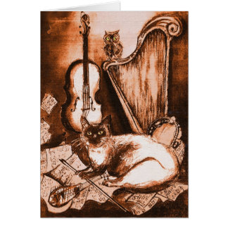 MUSICAL FATHER'S DAY CAT AND OWL ,Brown White Greeting Card