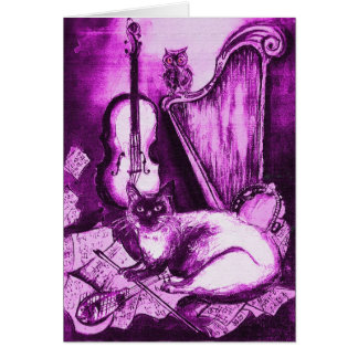 MUSICAL FATHER'S DAY CAT AND OWL Pink Purple White Greeting Card