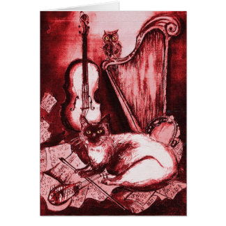 MUSICAL FATHER'S DAY CAT AND OWL ,Red  White Greeting Card