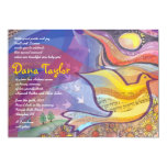 Musical Flying Dove Baby Naming Invitation Hebrew