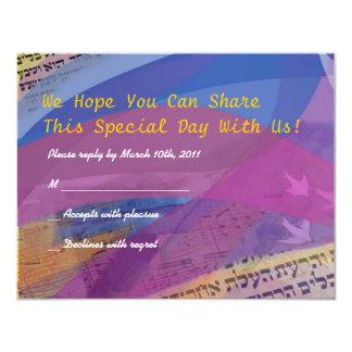 "Musical Flying Dove Bat Mitzvah Invitation Reply 4.25"" X 5.5"" Invitation Card"