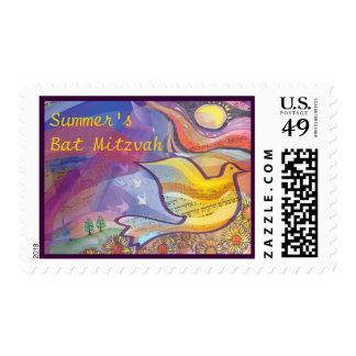 Musical Flying Dove Bat Mitzvah Invitation Stamp