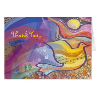 Musical Flying Dove Folded Thank You Greeting Card