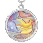 Musical Flying Dove Silver Memory Gift Necklace Round Pendant Necklace