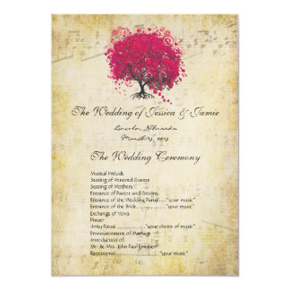Musical Fuchsia Heart Leaf Tree Wedding Program