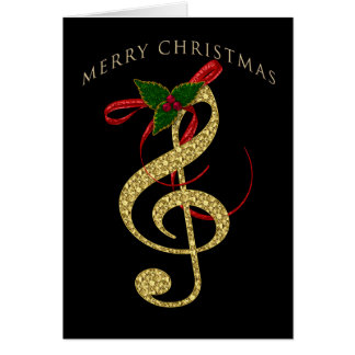 Musical G-Clef Christmas Greeting on Black Card