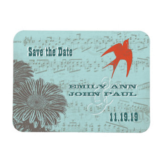 Musical Gerber Daisy Coral Love Bird Save the Date Magnets
