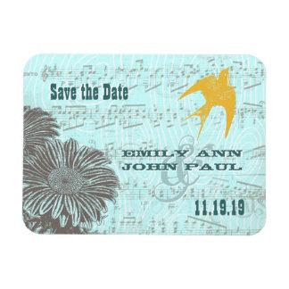 Musical Gerber Daisy Gold Love Bird Save the Date Rectangle Magnet