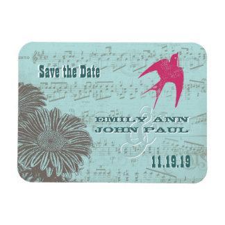 Musical Gerber Daisy Love Bird Save the Date Rectangular Magnets