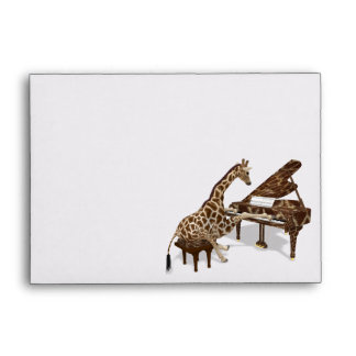 Musical Giraffe Plays Grand Piano Envelope