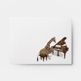 Musical Giraffe Plays Grand Piano Envelope