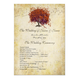 Musical Gold Dark Coral Heart Tree Wedding Program