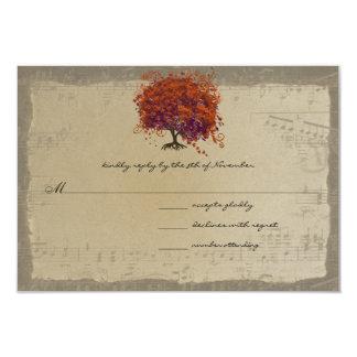 Musical Gold Dark Orange Plum Heart Leaf Tree Card