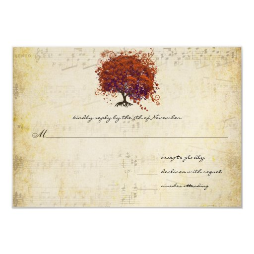 "Musical Gold Dark Orange Plum Heart Leaf Tree 3.5"" X 5"" Invitation Card"
