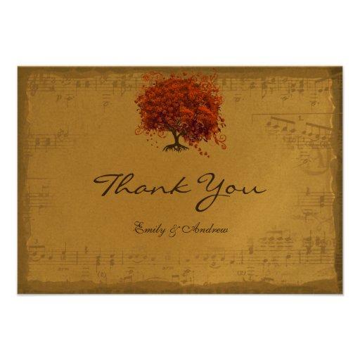Musical Gold Dark Orange Plum Heart Leaf Tree Custom Invitations