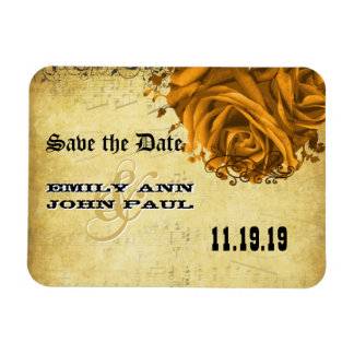 Musical Gold Heart Roses Save the Date Magnet