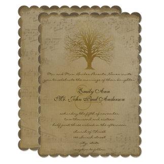 Musical Gold Love Tree Wedding Invitation
