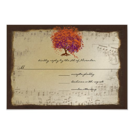 "Musical Gold Orange Plum Heart Leaf Tree Weddings 3.5"" X 5"" Invitation Card"