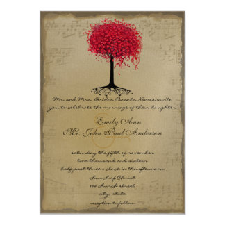 Musical Gold Red Heart Leaf Tree Wedding Invite