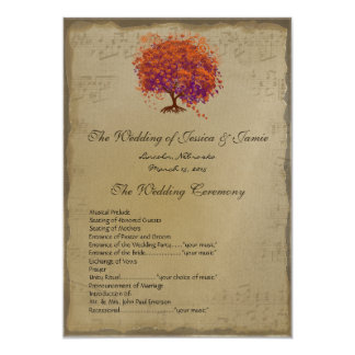 Musical Gold Red Heart Tree Wedding Program
