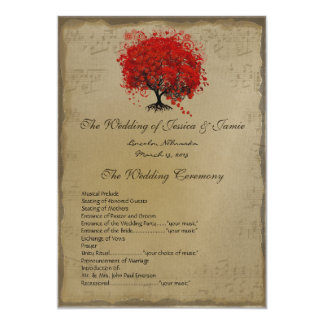 Musical GoldRed Heart Tree Wedding Program