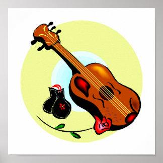Musical gráfico del diseño del rosa de las castañu póster
