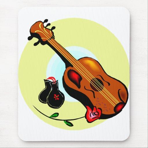 Musical gráfico del diseño del rosa de las castañu alfombrilla de raton