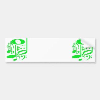 Musical Green Bumper Sticker