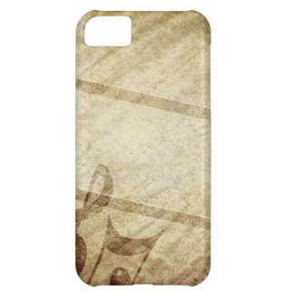 MUSICAL GRUNGE DIGITAL TEMPLATE SEPHIA MUSIC NOTES COVER FOR iPhone 5C